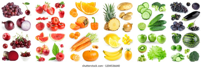 Collection of color fruits and vegetables on white background. Fresh food