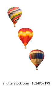 collection color hot air balloon on white background