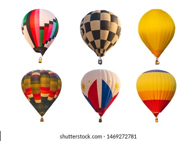 collection of color hot air balloon isolated on white background