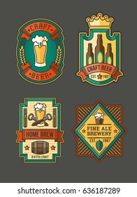 collection of color retro beer labels, emblems, stickers isolated on white.
