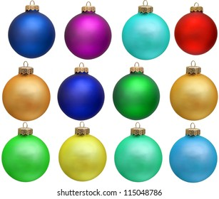 collection of colored christmas ball  new year ornament . Isolated over white.