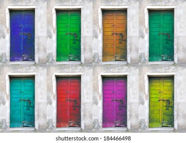 collection of colored doors found in the island of Giudecca in Venice