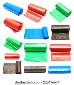 Collection of colored garbage bags isolated on a white background