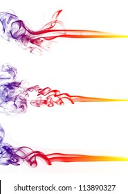 Collection of colored smoke isolated on white background