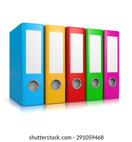 Collection of Colorful Binders Isolated on White Background 3D Illustration
