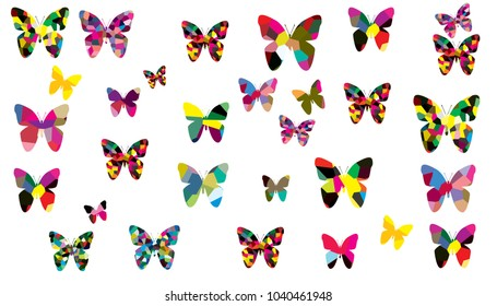 Collection of colorful butterfly on white background