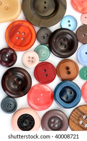 Collection of colorful buttons isolated on white background