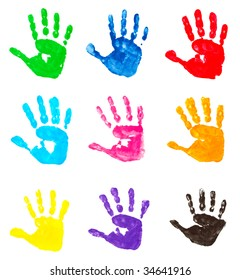 collection of colorful child hand prints  on white background . each one is in camera full resolution