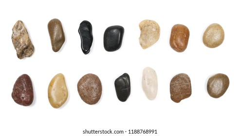 Collection colorful, decorative pebbles, rocks isolated on white background, top view