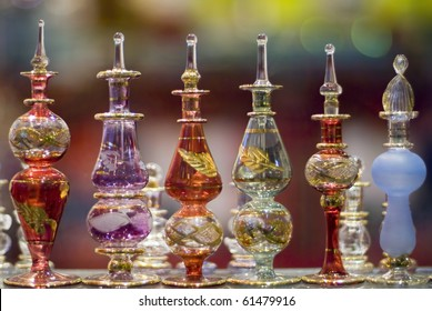 A collection of colorful  Egyptian perfume bottles taken in a bazaar