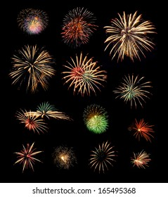 collection of colorful fireworks isolated on black background