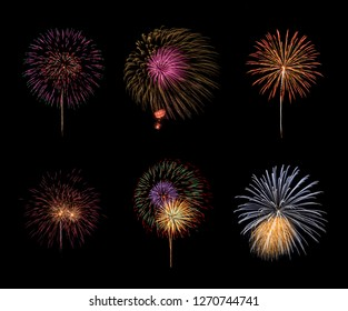 Collection of colorful fireworks on black background