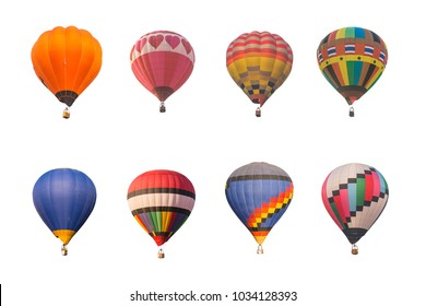 Collection of colorful hot air balloon on white background