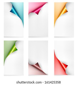 Collection of colorful paper banners. Paper design template. Raster version