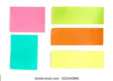 collection of colorful paper notes isolated on white