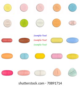 collection of colorful pill