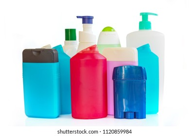 Collection of colorful plastic bottles and containers of hygiene products