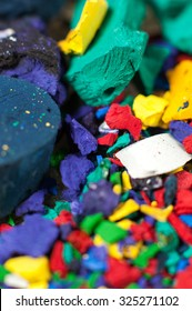 Collection of colorful powder.