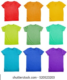 Collection of colorful t-shirts on white background