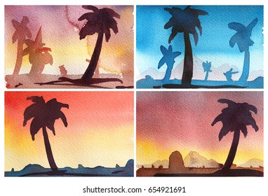 collection of colorful Watercolor landscapes with trees