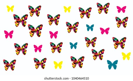 Collection of colorfum butterfly on white background.