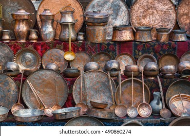 A collection of copper utensils at the flea market in Yerevan, Armenia