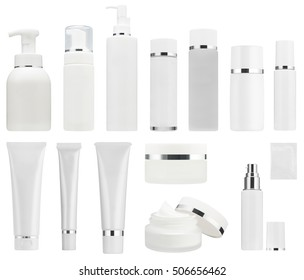 collection of cosmetic bottles of cream or lotion isolated on white background