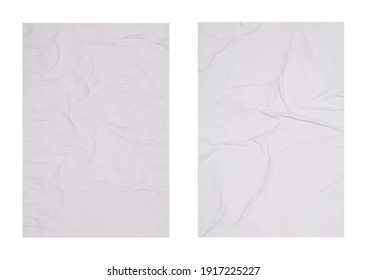 Collection of creased blank posters on white background