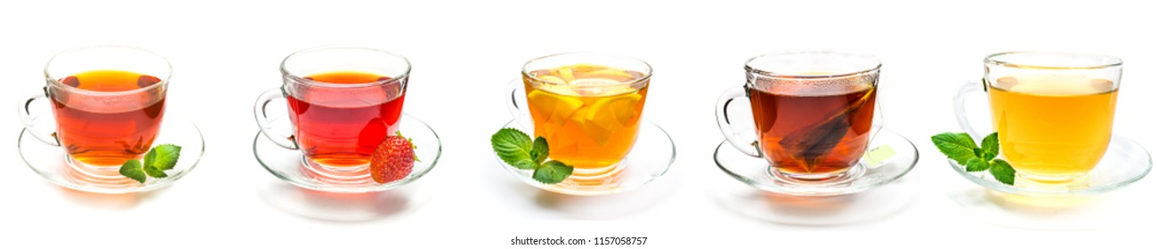 Collection cup of black, camomille and green tea with strawberry, mint leaves and lemon slice on white