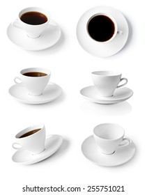 collection of cups of coffee isolated on white background