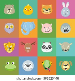 Collection of cute animal faces. Animal head icon set. Cartoon masks for masquerade, holiday, festival, halloween. Icons sticker of forest characters. Isolated object in flat design.