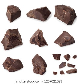 collection of dark chocolate pieces isolated on white background