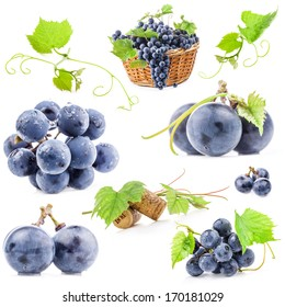 Collection of Dark grapes with leaves, Isolated on white background