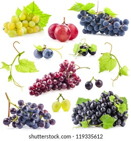 Collection of Dark and red grapes with leaves, Isolated on white background