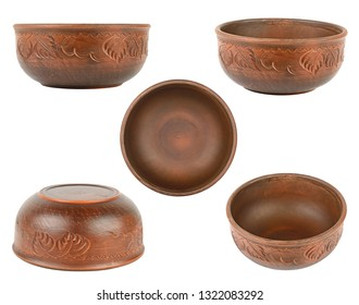 Collection deep bowls different angles isolated on white background
