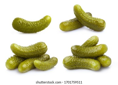 Collection of delicious marinated cucumbers, isolated on white background