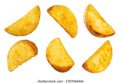 Collection of delicious potato wedges, isolated on white