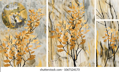 Collection of designer oil paintings. Decoration for the interior. Modern abstract art on canvas. Set of pictures with different textures and colors. Golden leaves on trees.Gray background.