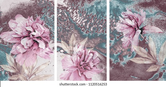 Collection of designer oil paintings. Decoration for the interior. Modern abstract art on canvas. A set of paintings with pink peonies on an abstract blue background