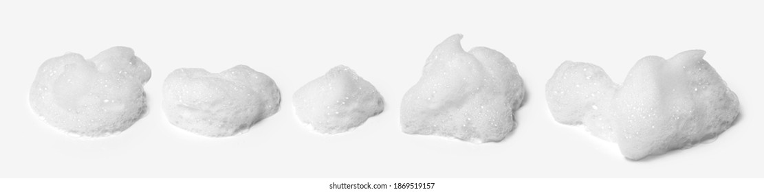 collection of detergent bubble, white foam bubbles, isolated with clipping path