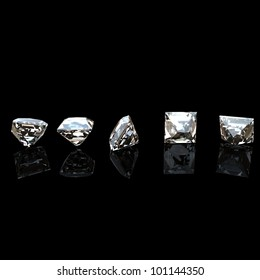 Collection of diamond. Background with square gemstone