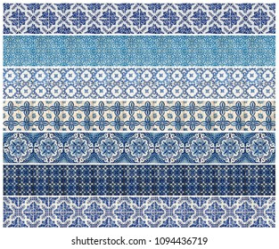 Collection of different blue patterns tiles as a background