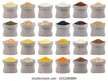 Collection of different cereals, grains and flakes in bags isolated on white background with clipping path