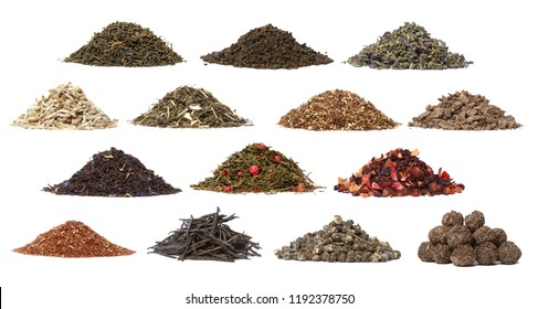Collection of different dry tea. Isolated on a white background