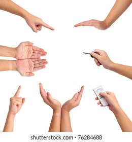 Collection of different gesture of hands isolated on white.