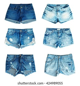 collection of different jeans shorts on a white background. front view.