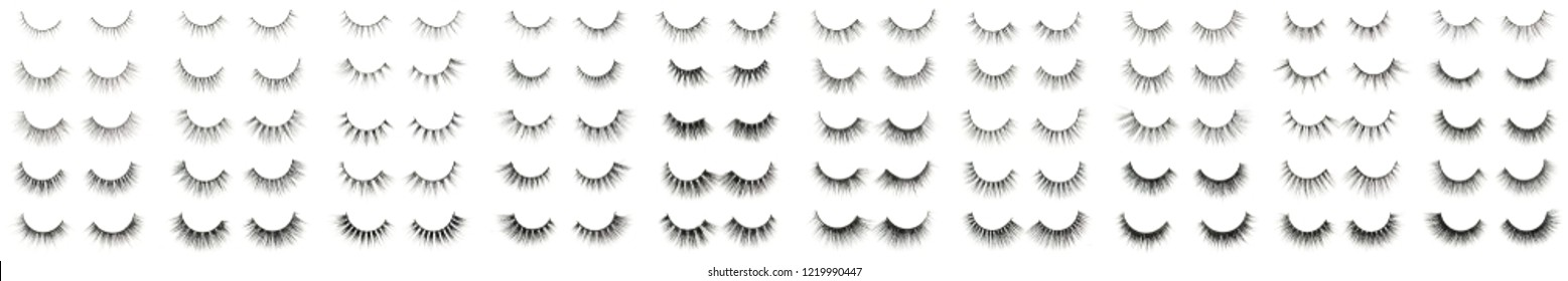 Collection of different kinds of black mink hair artificial eyelashes extensions