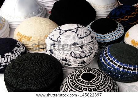 Collection Different Kippah Kipa Yarmulke Hemispherical Stock Photo