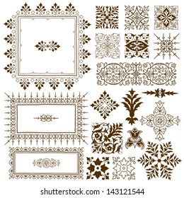Collection of different ornate vintage calligraphic design elements of classical symmetrical vintage filigree ornament designs