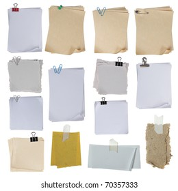 collection of different paper on white background. each one shot separately